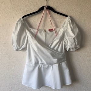 Kate Spade Puff Sleeve Blouse White Size 6
